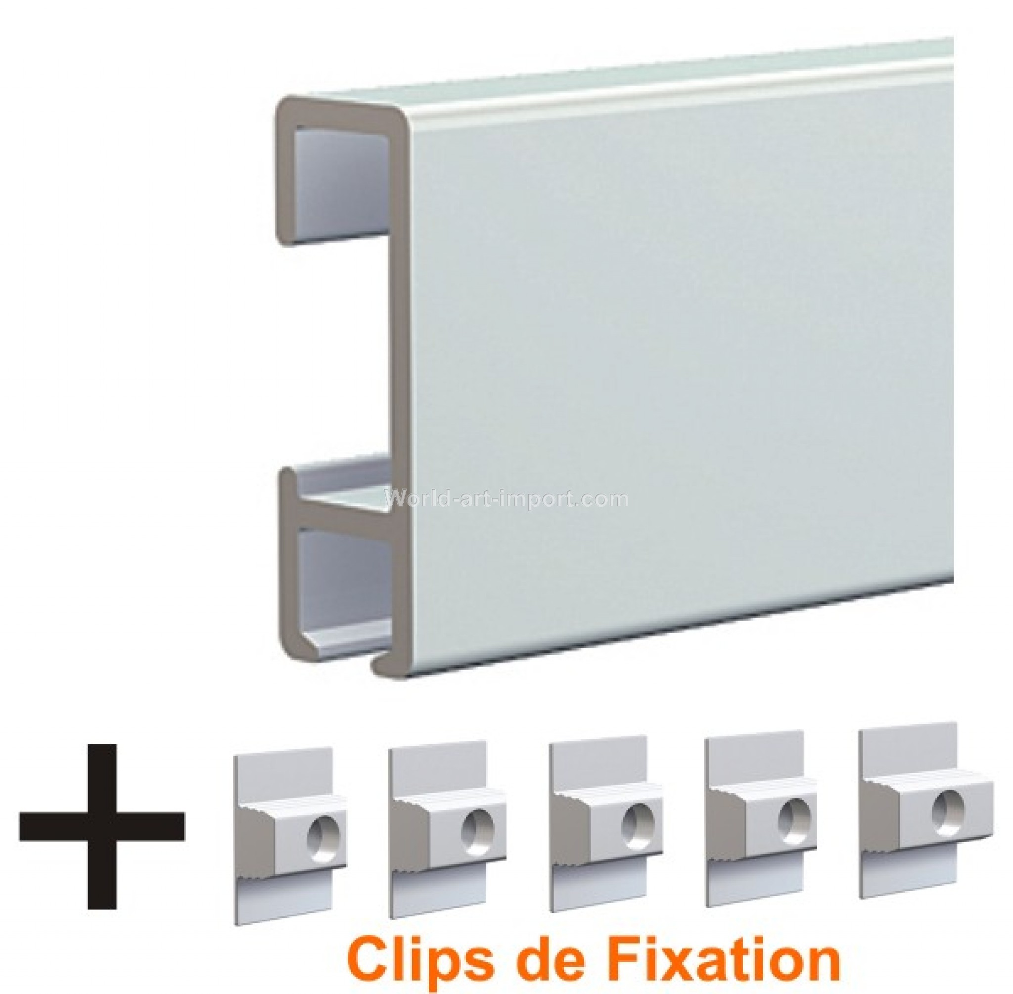 simple cimaise click rail mural clips de fixation with fixation cadre lourd. Black Bedroom Furniture Sets. Home Design Ideas